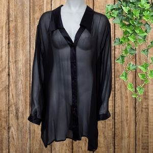 Tops - Magic Silk Sheer Button Down Long Sleeve Blouse